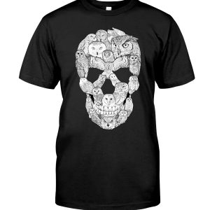 Sketchy Owl Skull Tee Shirt