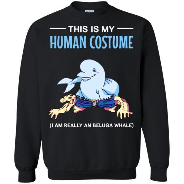 This Is My Human Costume I'm A Beluga Whale Halloween Long Sleeve T-Shirt