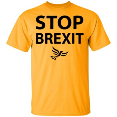 Stop Brexit Bollocks To Brexit Yellow T-Shirt, Ladies Tee