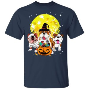 Bulldog Mummy Witch Dog Moon Ghosts Halloween T-Shirt