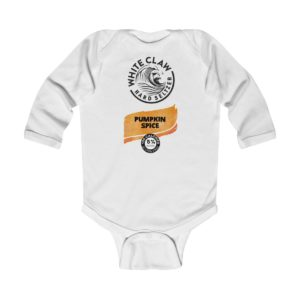 White Claw Baby Costume Pumpkin Spice Halloween Infant Bodysuit
