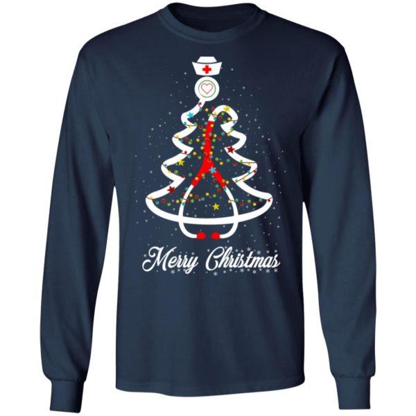 Stethoscope Christmas Tree Merry Christmas Nurse Shirt