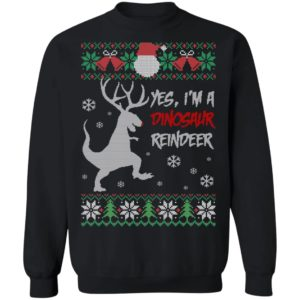 Yes I Am A Dinosaur Reindeer Funny Ugly Christmas Sweater