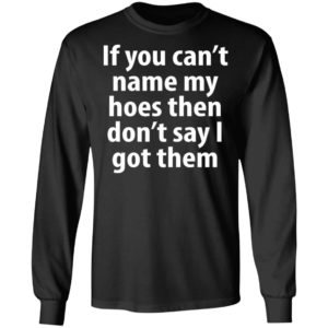 if you can name my hoes then don't say i got them Shirt, Long Sleeve, Hoodie