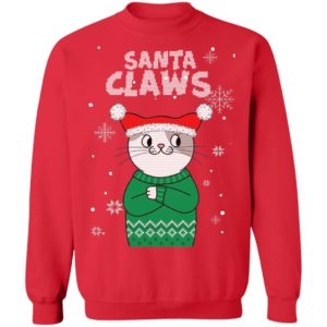 Santa Claws Cat Ugly Christmas Sweater Style Sweatshirt, Hoodie