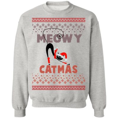 Ugly Christmas Sweater Sweatshirts Vintage Meowy Cat Sweater