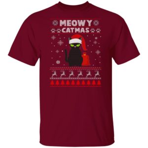 Meowy Christmas Ugly Sweater Crewneck Sweatshirt Christmas Sweater Gift For Cat Lover