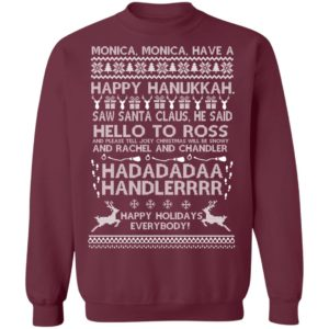 Monica Monica Have A Happy Hanukkah Harry Potter Ugly Christmas Sweater, Long Sleeve