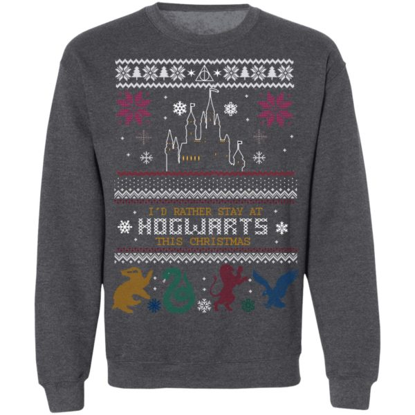 Id Rather Stay At HOGWARTS This Christmas Harry Potter Ugly Christmas Sweater Hoodie, Long Sleeve