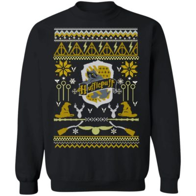 Harry Potter Hufflepuff Ugly Christmas Sweater Hoodie, Long Sleeve