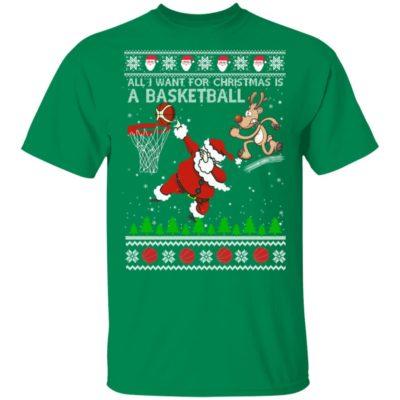 All I Want For Christmas Is A Basketball Santa Vs Reindeer Ugly Christmas Sweater, Hoodie, Long Sleeve