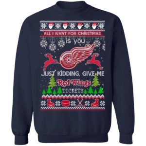 All I Want For Christmas Is You Detroit Red Wings Ice Hockey Ugly Christmas Sweater, Hoodie, Sweatshirt, Long Sleeve