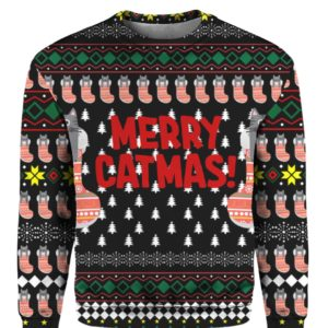 Merry Catmas Funny 3D Ugly Christmas Sweater