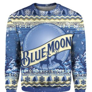 Blue Moon Beer Bottle 3D Ugly Christmas Sweater