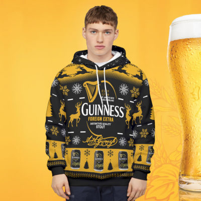Guinness Foreign Extra Stout 3D Print Ugly Christmas Sweater Hoodie