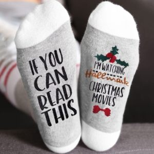 Christmas Socks IF YOU CAN READ THIS I'M WATCHING CHRISTMAS MOVIES Socks Women Men Autumn Winter Short Socks
