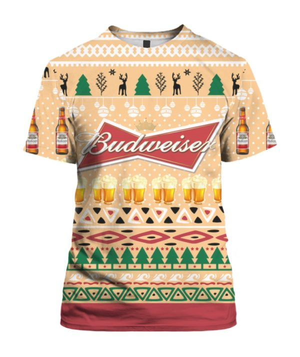 Budweiser Beer Bottle 3D Ugly Christmas Sweater