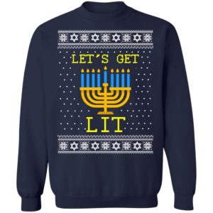 Let's Get Lit Hanukkah Ugly Christmas Sweater