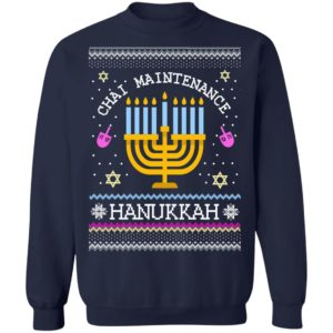 Chai Maintenance Hanukkah Ugly Christmas Sweater