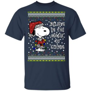Snoopy Believe In The Magic Of Giving Ugly Christmas Sweater, Long Sleeve, Hoodie