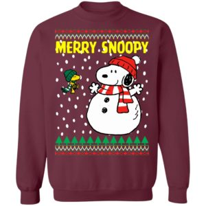 Snoopy Snowman and Woodstock Ugly Christmas Sweater, Long Sleeve, Hoodie