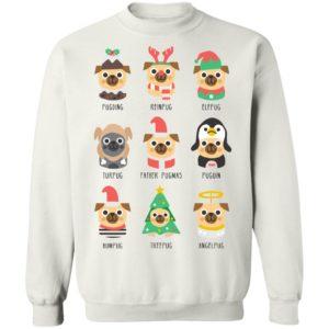 Christmas Pug Pugding Reinpug Elfpug Turpug Father Pugmas Sweatshirt