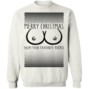 Black Merry Christmas From Your Favourite Boobs Ugly Sweatshirt, Hoodie, Long Sleeve