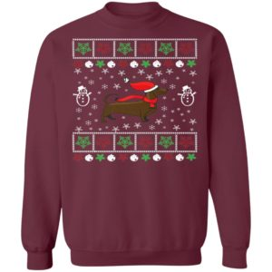 Funny Dachshund Lover Ugly Christmas Sweater, Long Sleeve, Hoodie