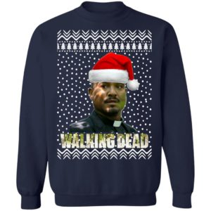 The Walking Dead Father Gabriel Stokes Santa Hat Christmas Sweater