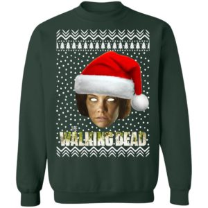 The Walking Dead Maggie Greene Santa Hat Ugly Christmas Sweatshirt