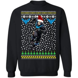 Nightwing Dick Grayson Santa Hat Ugly Christmas Sweater