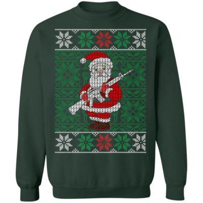 Mens Santa Gun Hunting Ugly Christmas Sweater