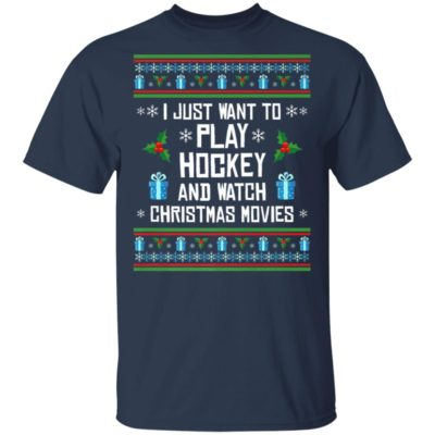 Play Hockey And Watch Christmas Movies Ugly Christmas Sweater
