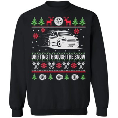 Drifting Through The Snow Car Ugly Christmas Sweater