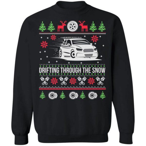 Drifting Through The Snow Car Ugly Christmas Sweater