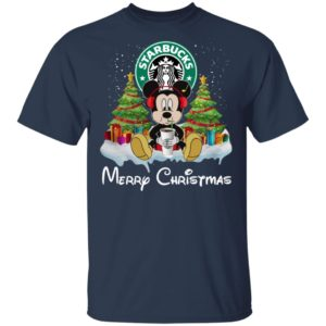 Mickey Mouse Drink Starbucks Merry Christmas Shirt Hoodie, Long Sleeve