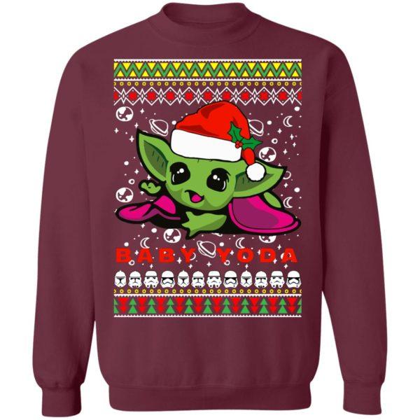 Baby Yoda Santa Hat Ugly Christmas Sweater