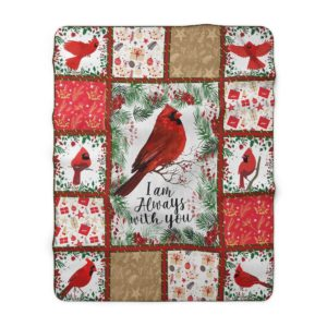 Red Birds I Am Always with You Cardinals Sherpa Fleece Blanket