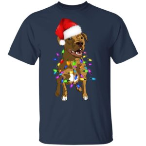 Pit Bull with santa hat christmas shirt