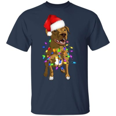 Pit Bull with santa hat christmas shirt