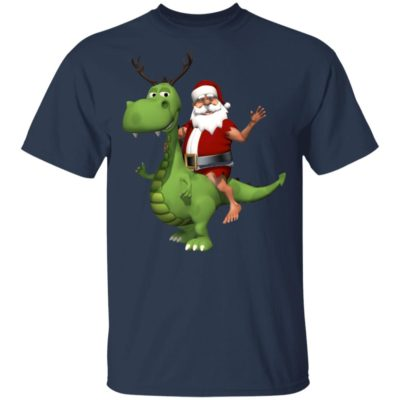 Santa riding t rex dinosaur reindeer christmas shirt, sweater