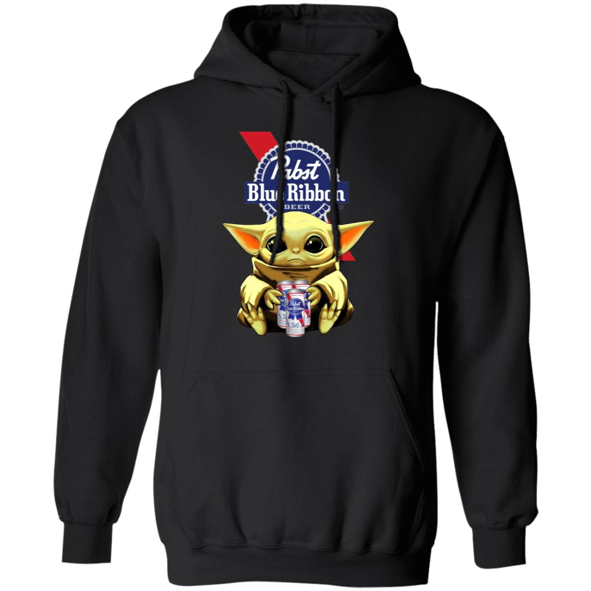 Baby Yoda Hug Pabst Blue Ribbon Beer Shirt Long Sleeve Hoodie