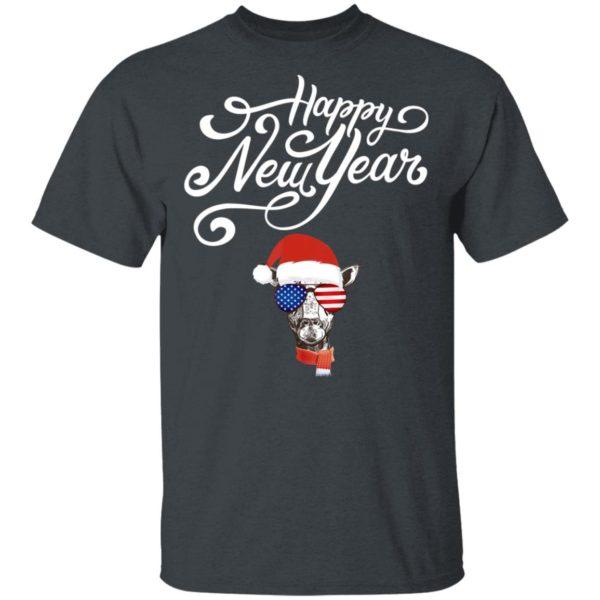 Happy New Year Cute Giraffe Xmas Santa Hat Funny Pajama T-Shirt