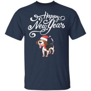 Happy New Year Cute Beagle Dog Santa Hat Funny Pajama Shirt