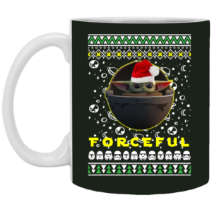 Baby Yoda In The Mandalorian Forceful Santa Hat Ugly Christmas Mug, Neckace