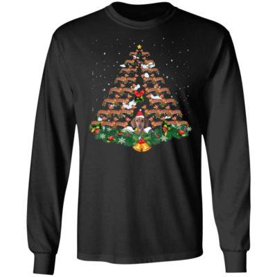 Dachshund dog christmas tree lights santa hat shirt hoodie