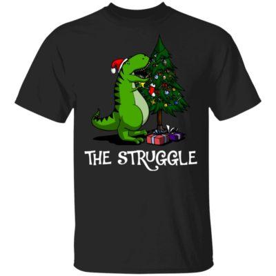 T-rex dinosaur eating the Christmas tree shirt sweater
