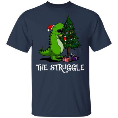T-rex dinosaur eating the Christmas tree shirt
