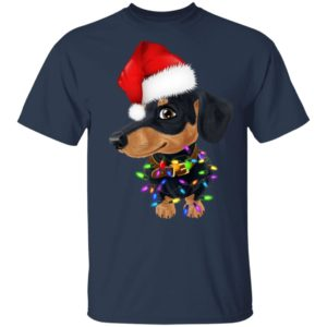 Dachshund dog with santa hat christmas shirt sweater