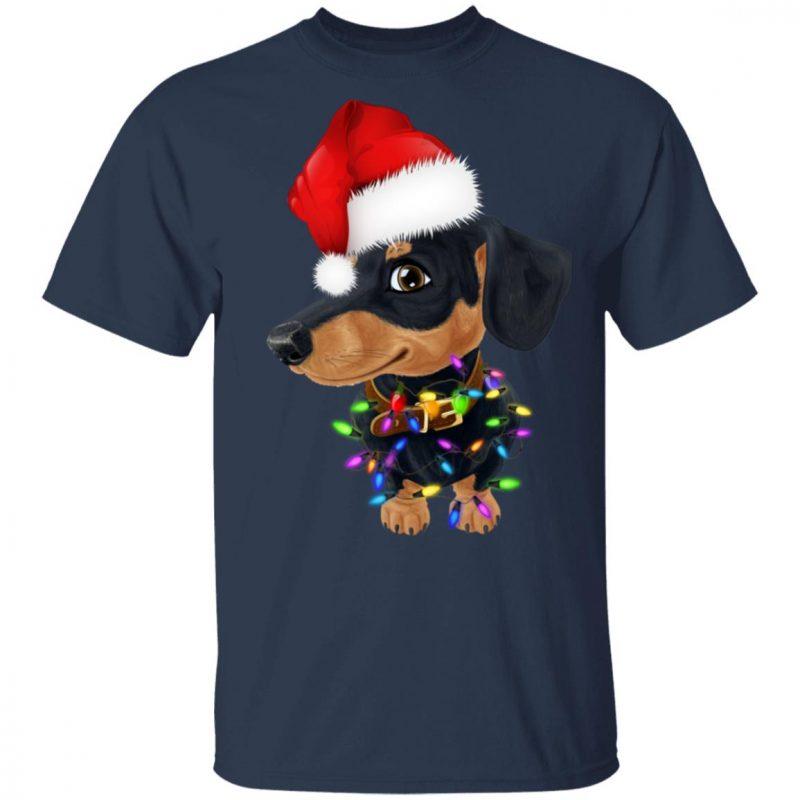 Dachshund dog with santa hat christmas shirt sweater